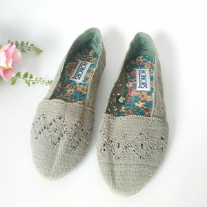 80-90s Vintage Crocheted Knit Fabric Flats